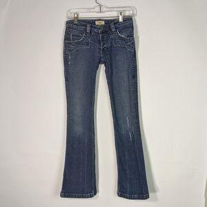 Antik Denim three button fly distressed jeans